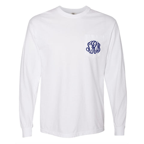 Monogram Comfort Color Long Sleeve Tee - White