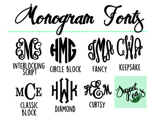 Sweet Pea's Monogram font style chart