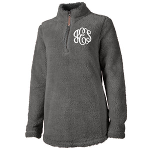 Monogram Newport Sherpa Pullover in Charcoal