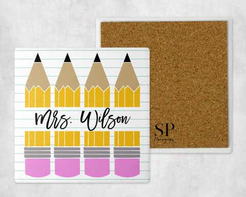 Custom Teacher Pencil Coaster