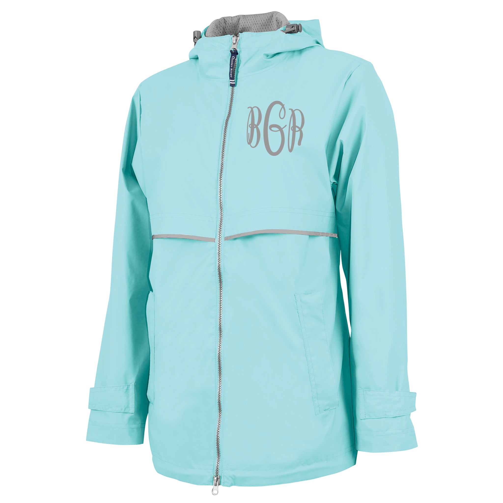 search for official running shoes top-rated newest Monogrammed Rain Jacket - Aqua