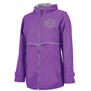 Monogrammed Violet full zip rain jacket with hood