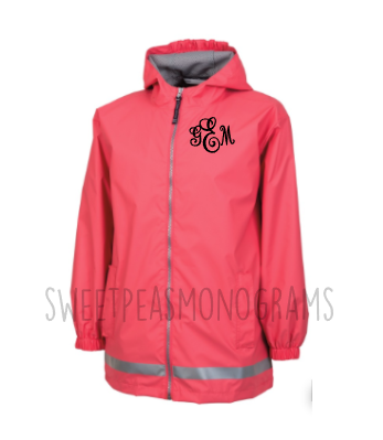 Youth Monogram Raincoat, Monogram Rain Jacket, Charles River Rain Jacket, Full Zip Jacket