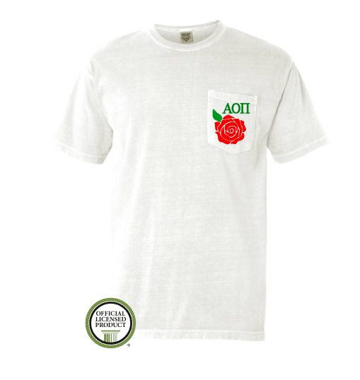 Alpha Omicron Pi Rose Pocket Tee