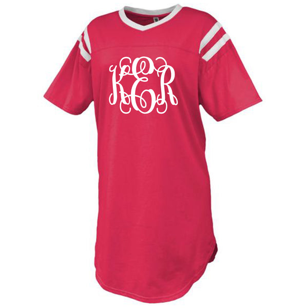 Monogram Red Jersey Sleep Shirt