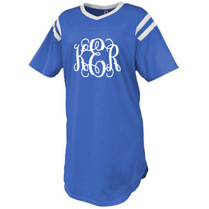 Monogram Royal Blue Jersey Sleep Shirt