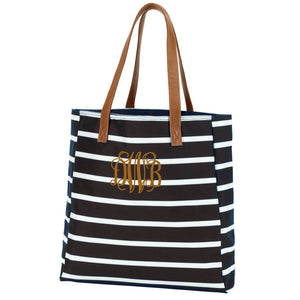 Monogram Stripe Tote in black