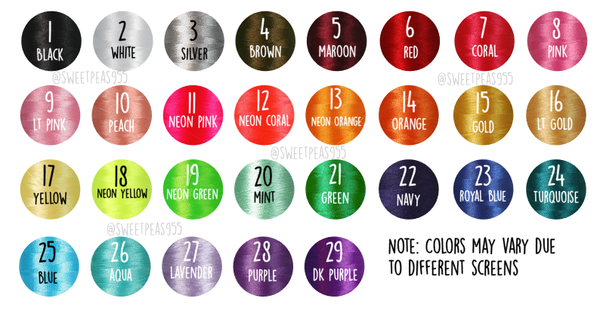 Sweet Pea's thread color chart