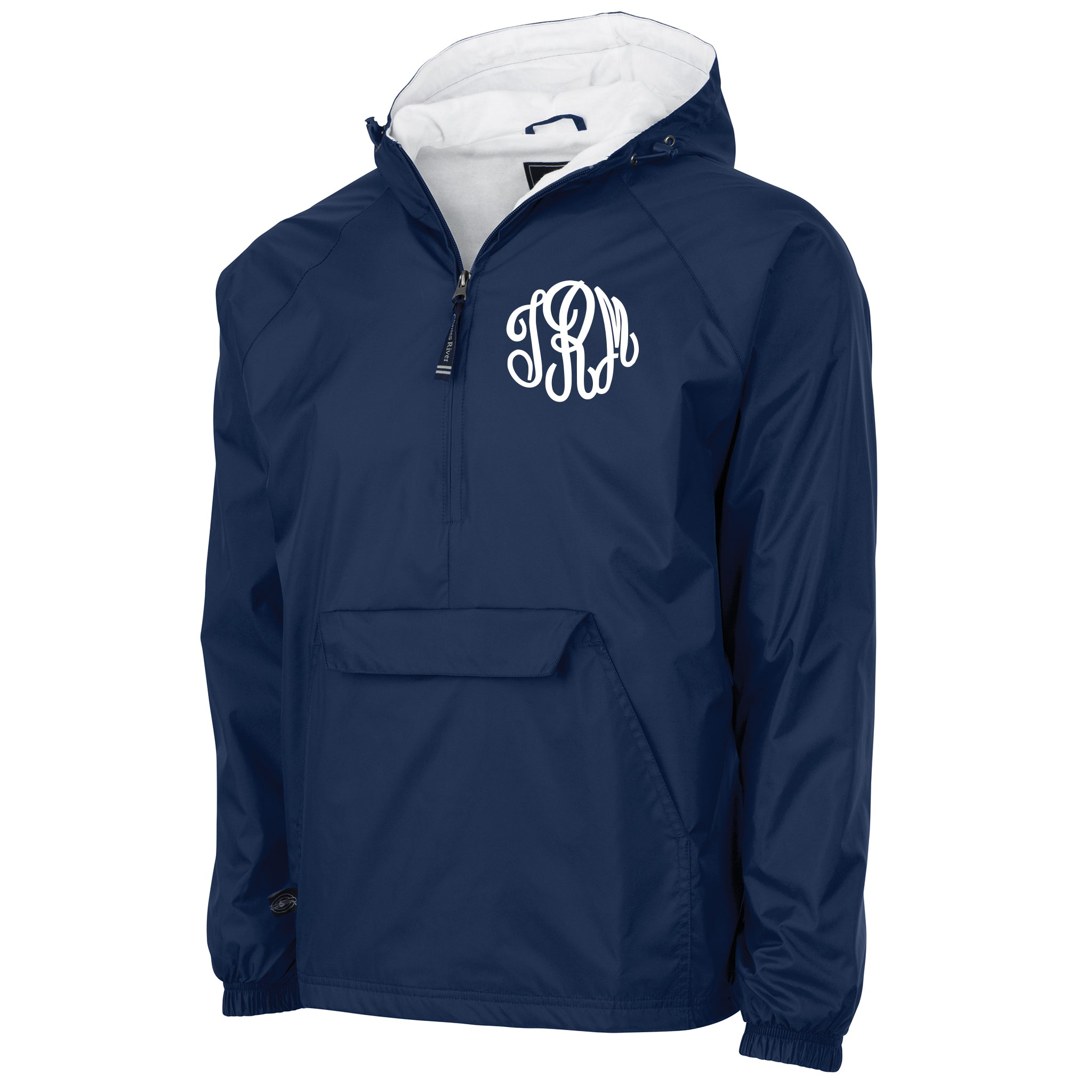 Monogrammed Windbreaker Pullover in Navy