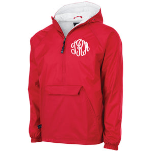 Monogrammed Windbreaker Pullover in Red