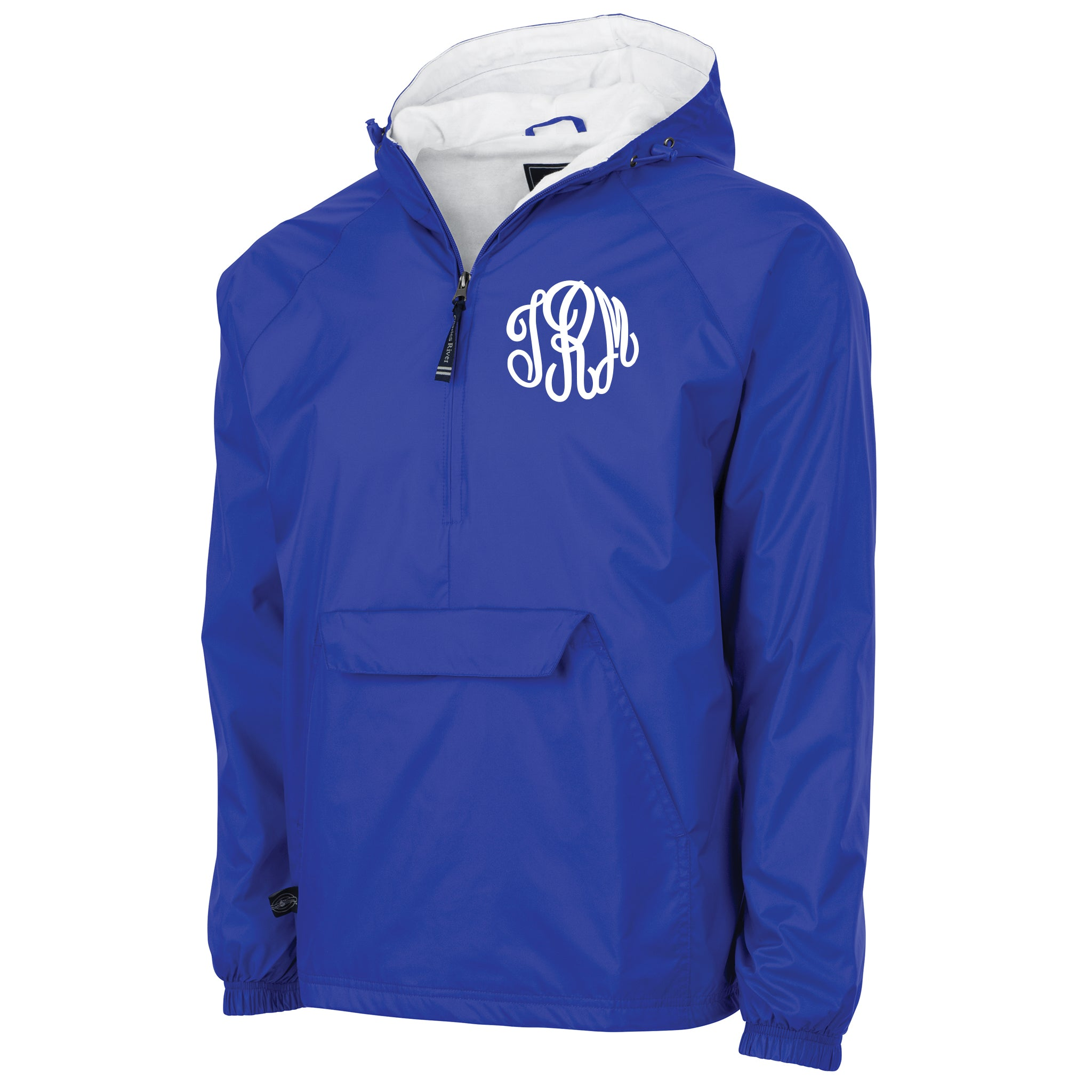Monogrammed Windbreaker Pullover in Royal Blue