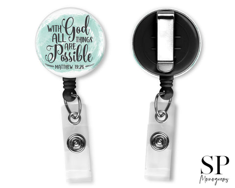 With God All Things Are Possible Retractable Badge Reel