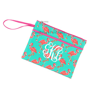 Monogram Bikini Zip Pouch Wristlet - Tickled Pink