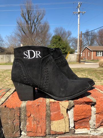 Monogram Ankle Booties - Black