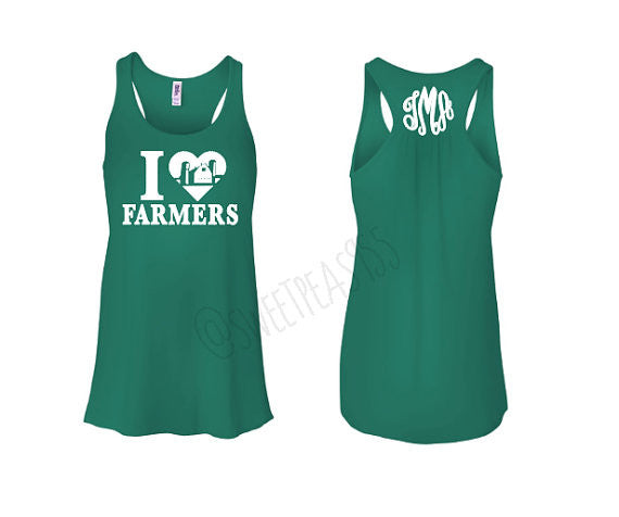 I Love My Farmers Monogram Tank Top