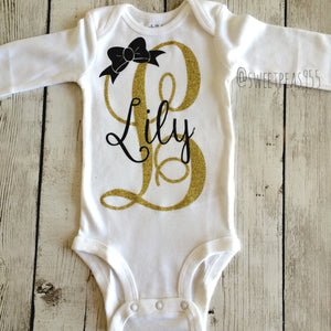 Personalized Name Bodysuit, Glitter Initial Bodysuit Shirt