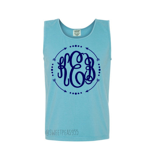 Monogram Comfort Color Tank with Arrow