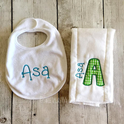 Baby Burp Cloth and Bib Set