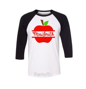 Teacher Apple Baseball Tee