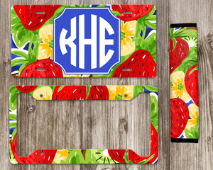 Monogram License Plate and Seat Belt Cover