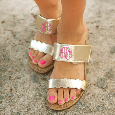 Monogram Sandal Wedge with pink monogram