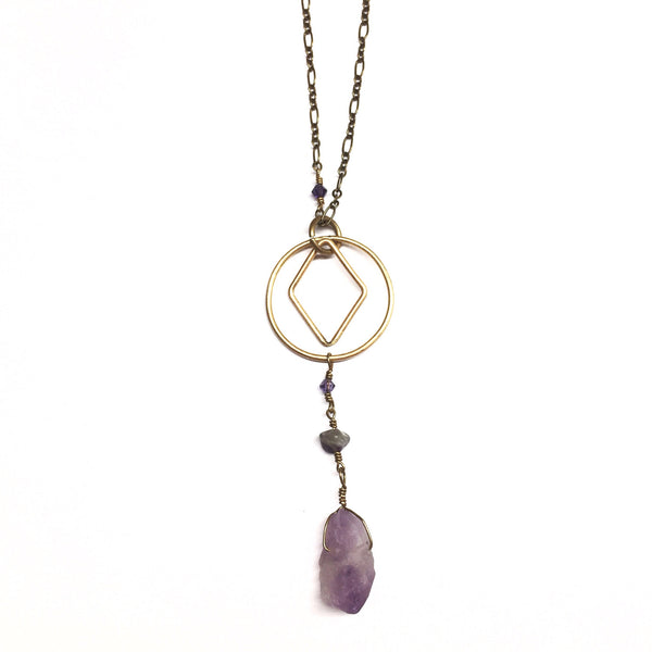 Amethyst Mint - Raw Amethyst Necklace - Minimalist Jewelry - Womans Jewelry