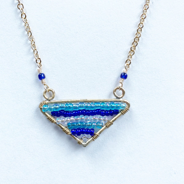 Blue triangle necklace