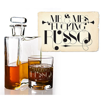 russo custom bad girl barware whiskey glasses