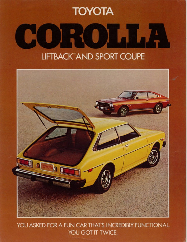 Vintage Ad Tan Toyota Corolla with the trunk open