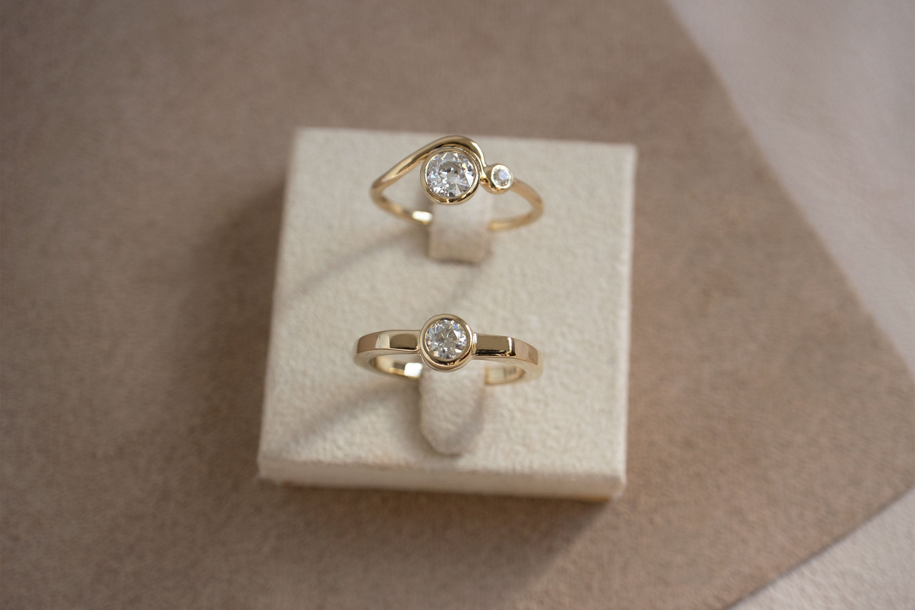 Old European Cut White Diamond Engagement Rings