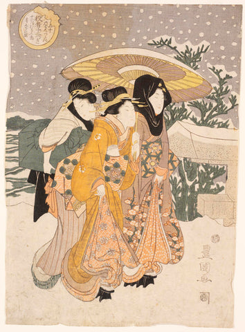 Japanese woodblock print of three women in vibrant floral kimonos walking through snow by Utagawa Toyokuni