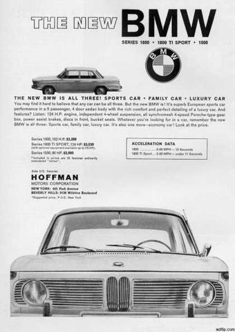Vintage Automobile Advertisement photo of the grill of 1800 Series by BMW from 1964