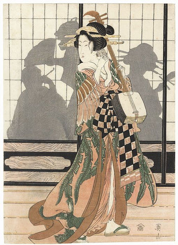 Japanese woodblock print of courtesan in a leaf print kimono standing holding shamisenby Eizan