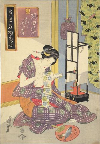 Japanese woodblock print of woman kneeling and inspecting dyed fabrics by Keisai Eisen