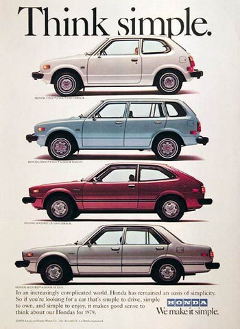 Vintage Automobile Advertisement silver teal and red cars from 1979 by Honda