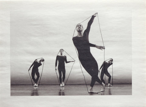 Nancy Brooks black and white photo with line drawing of Merce Cunningham dancers with lines drawn around their bodies 2013