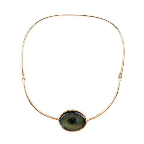 Vivianna Torun Bülow-Hübe 18k Gold necklace with a pendant made out of Glass and Alternate Mother of Pearl