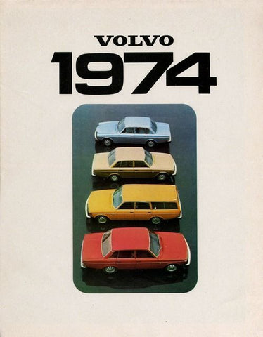 Vintage Automobile Advertisement of light blue tan yellow and red Volvos from 1974