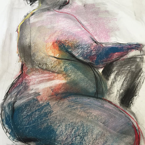 sheila skemp vibrant charcoal and pastel figure drawing of curvy woman sitting in chair