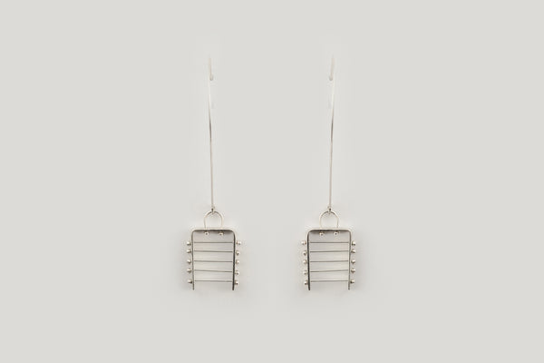 Japanese inspired long pendant wire earrings in sterling silver