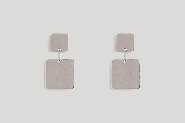 SQUARE KAI EARRINGS | BRUSHED STERLING SILVER