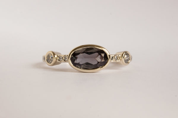 Hikaru Ring No.7 - One of A Kind Oval 0.86ct Rare Dark Purple Sapphire