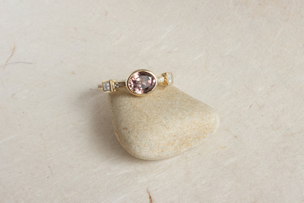Hikaru Ring No.8 - One of A Kind Oval 1.55ct Mauve Zircon