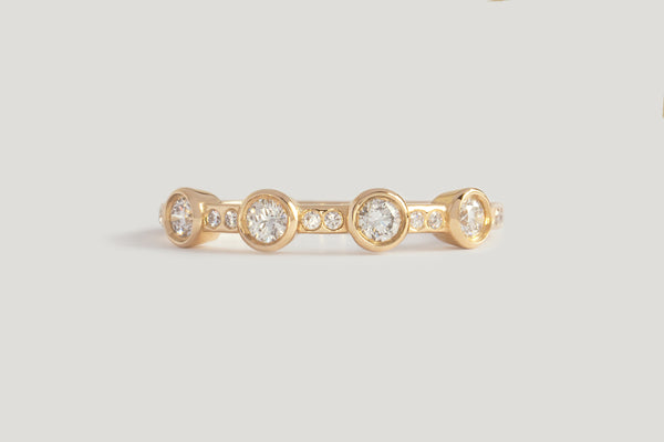 4-STONE WHITE DIAMOND THEIA RING | 14K YELLOW, SZ 7