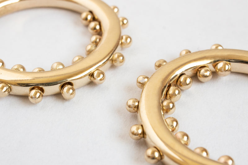 NARUMI BEAD HOOPS | 14k Yellow Gold
