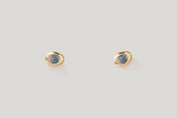 TEAL SAPPHIRE PEBBLE STUDS | 14k Yellow Gold