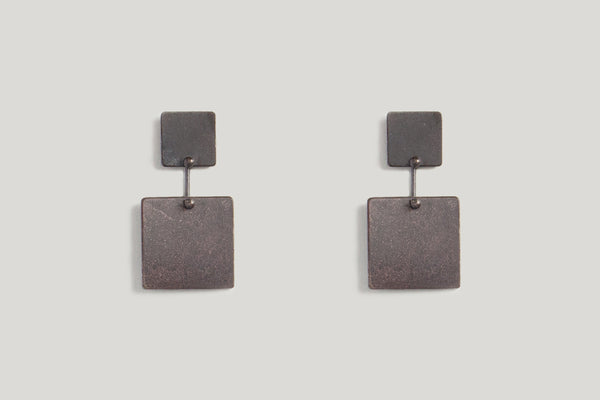 SQUARE KAI EARRINGS | OXIDIZED STERLING SILVER