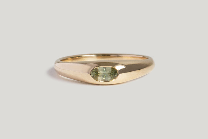 ONE OF A KIND LIGHT GREEN MONTANA SAPPHIRE PETITE RISA RING | 14k Yellow GOLD, SZ 6