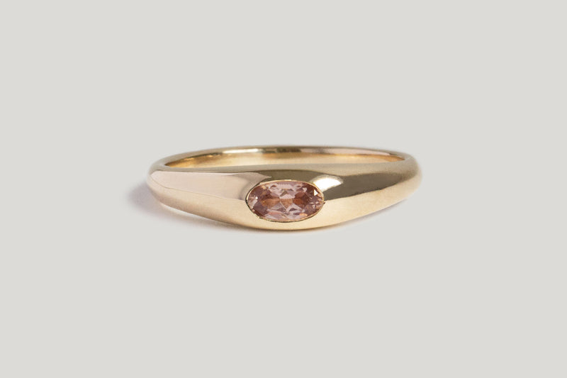 ONE OF A KIND CHAMPAGNE RED MONTANA SAPPHIRE PETITE RISA RING | 14k Yellow, SZ 8