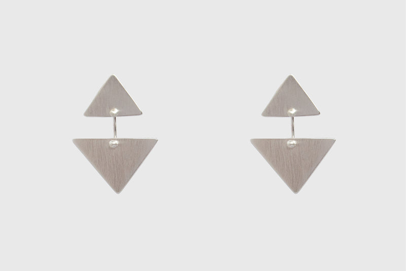 TRIANGLE KAI EARRINGS | BRUSHED STERLING SILVER
